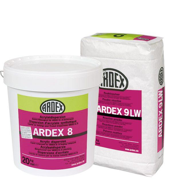 Balta divkomponenta hidroizolācija ARDEX 8+9 LW sienu un grīdu konstrukciju hidroizolācijai zem keramikas flīzēm vai plāksnēm telpās un āra apstākļiem