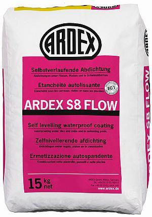 Plūstoša elastīga hidroizolācija ARDEX S8 Flow grīdu virsmu hidroizolācijai zem flīžu un plākšņu seguma, nelīdzenumu līdz 5 mm izlīdzināšanai
