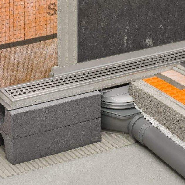 Dušas kanāls KERDI-LINE-H 50 G2 ar horizontālu izvadu ir vairāku detaļu komplekts grīdas līmeņa dušas kanāla ierīkošanai.