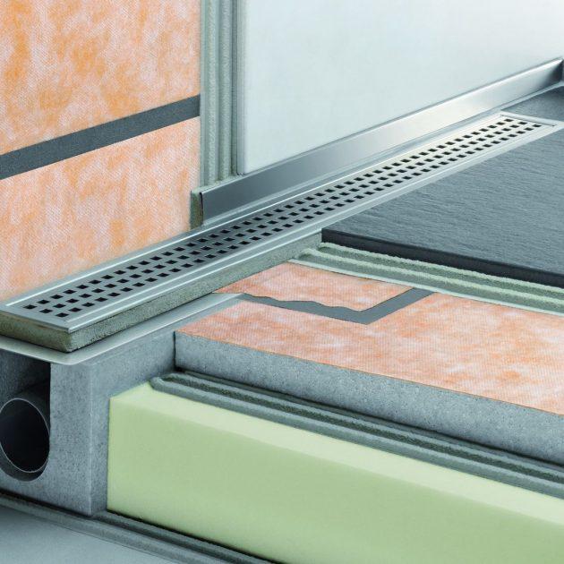 Dušas kanāls Schluter KERDI-LINE-H ar horizontālu izvadu ir vairāku detaļu komplekts grīdas līmeņa dušas kanāla ierīkošanai.