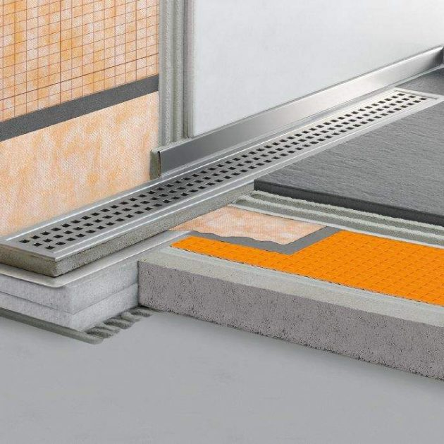 Dušas kanāls KERDI-LINE-V50G2 ar vertikālu izvadu ir vairāku detaļu komplekts grīdas līmeņa dušas kanāla ierīkošanai ar fiksētu augstumu.