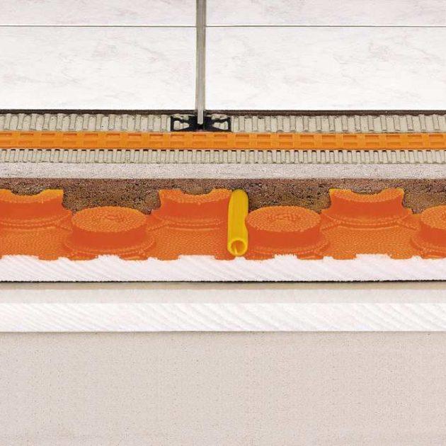 Ūdens apkures grīdas Schluter BEKOTEC-EN grīdas plāksne ir droša siltās grīdas konstrukcija funkcionāli drošu, peldošo un apsildāmo klonu ierīkošanai