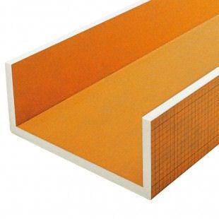 Mitrumizturīgas celtniecības plāksnes Schluter KERDI-BOARD-U elements vieglai un ātrai stūru izveidošanai un cauruļvadu un instalāciju kanālu apšūšanai